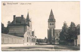 Bourg-Léopold - L'Eglise Et La Poste 19..  (Geanimeerd) - Leopoldsburg
