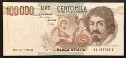 100000 Lire Caravaggio I° Tipo Serie C 1986 Bb/spl Lotto.2117 - [ 2] 1946-… : Républic