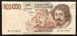 100000 Lire Caravaggio I° Tipo Serie C 1986 Bb/spl Lotto.2117 - [ 2] 1946-… : République