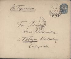Russie Entier Enveloppe Russe 10 K Bleu Aigle U34B Départ Moscou 1 1 08 Arrivée Tubingen NR1 B III 17 01 08 - 1857-1916 Impero