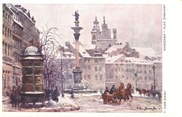 POLSKA - POLAND Postcard - WARSZAWA, Plac Zamkowy, ARTIST T. CIESLEWSKI - Polonia