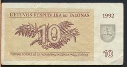 °°° LITHUANIA 10 TALONAS 1992 °°° - Lituanie
