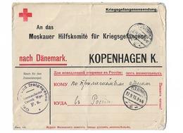 Lettre Comité D'aide Prisonniers De Guerre De Moscou Camp De CZERSK Poméranie Prusse Orientale Par COPENHAGUE - 1914-18