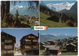 Grachen, Switzerland, Multi View, Used Postcard [21534] - VS Valais