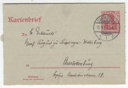 Germany Reich Postal Stationery Letter Card Kartenbrief Travelled 1907 Darmstadt To Chrlottenburg B180725 - Deutschland