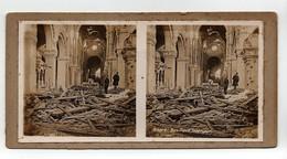 Ancienne CARTE Vue Stéréoscopique Guerre 1914-18 Albert Basilique Intérieur - Stereoscoop