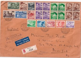 LIECHTENSTEIN 1940 PLI AERIEN RECOMMANDE DE VADUZ AVEC CACHET ARRIVEE NEW YORK - Poste Aérienne