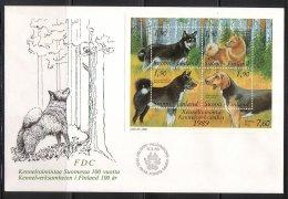 Finland G56 FDC 1989 S/s Of 4v Domestic Animals Dog CV 5 Eur - Finland
