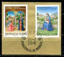 MONACO . Série Emission Commune Monaco-Cité Du Vatican Du 1er Semestre 2018 Oblitérée   (2693) - Monaco