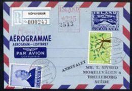 71441 Aerogramme - Iceland 1960s 175aur Aerogramme Registered Used - Airmail