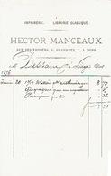 Facture 1876 MONS - HECTOR MANCEAUX - Imprimerie - Lithographie - Librairie - Belgique