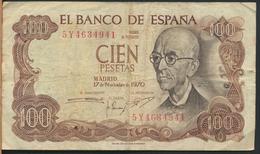°°° SPAGNA SPAIN 100 PESETAS 1970 °°° - [ 3] 1936-1975 : Régence De Franco