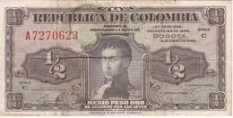 BILLETE DE COLOMBIA DE 1/2 PESO DE ORO DEL AÑO 1948  (BANK NOTE) - Colombia