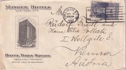 USA 1927 LETTRE ILLUSTREE  NEW YORK  TIME SQUARE HOTEL - Etats-Unis