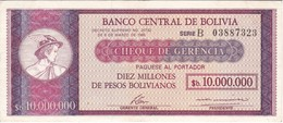 BILLETE DE BOLIVIA DE 10000000 PESOS BOLIVIANOS  DEL AÑO 1985 (RARO) - Bolivia