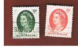 AUSTRALIA  - SG 354.354c  -  1963.1965    ELIZABETH II 2 STAMPS OF THE CURRENT SERIE   -    USED - 1952-65 Elizabeth II: IEmissione Prima Decimali