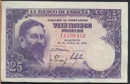 °°° SPAGNA SPAIN 25 PESETAS 1954 °°° - [ 3] 1936-1975 : Regime Di Franco