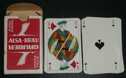 """Rare Jeu De 32 Cartes Publicitaires, Pub """"Alsa-Bräu Gruber"""" Bières Bière, Coins Dorés - 32 Carte"""