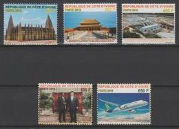 Côte D'Ivoire Ivory Coast 2018 Relations Diplomatiques Chine China Relations Avion Airplane Mosquée Cité Interdite 5 Val - Côte D'Ivoire (1960-...)