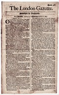 1669 London Gazette, Number 438,  An Early, Single Sheet Newspaper.  Ref 0565 - Documents Historiques