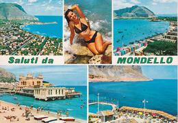 PALERMO - Saluti Da Mondello - 4 Vedute + Pin Up - Donnina In Posa Sexy - Bikini - Naked - Woman Pose - Charme - 1988 - Palermo