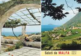 MESSINA - Arcipelago Isole Eolie - Isola Di Salina - Saluti Da Malfa - 2 Vedute - 1975 - Messina