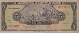 BILLETE DE EL SALVADOR DE 5 COLONES DEL AÑO 1988 DE CRISTOBAL COLON   (BANKNOTE) - El Salvador