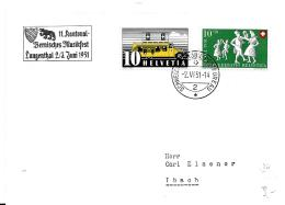 """125 - 39 - Enveloppe Avec Oblit Spéciale """"11. Kantonal Bernisches Musikfest Langenthal 1951"""" - Marcophilie"""