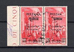 !!! PRIX FIXE : FEZZAN, PAIRE DE PA N°2 OBLITEREE, SIGNEE SCHELLER - Fezzan (1943-1951)