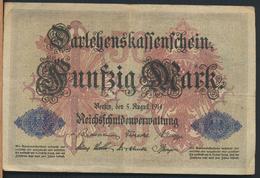 °°° GERMANY DARLEHENSKASSENSCHEIN 50 FUNFZIG MARK 1914 °°° - [ 2] 1871-1918 : Impero Tedesco