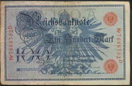 °°° GERMANY REICHSBANKNOTE 100 MARK 1908 °°° - [ 2] 1871-1918 : Impero Tedesco