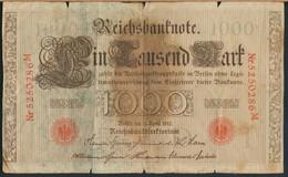 °°° GERMANY REICHSBANKNOTE 1000 MARK 1910 °°° - 100 Mark