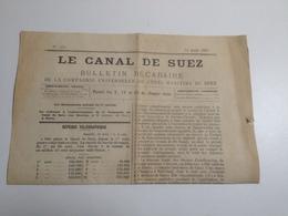 Le Canal De SUEZ, Bulletin Décadaire De La Compagnie ,1887 - Autres