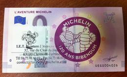 L'AVENTURE MICHELIN 120 ANS BIBENDUM AVEC TIMBRE 2 ET TAMPON BILLET 0 EURO SOUVENIR 0 EURO SCHEIN 2018 - Coches