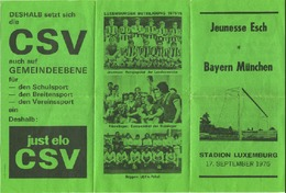 LUXEMBOURG - Dépliant Du Match Jeunesse Esch - Bayern München 1975 - Très RARE - Soccer