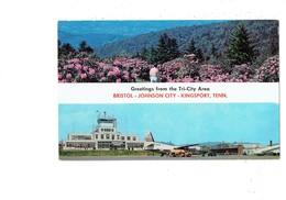 Cpm - Bristol - Tennessee - Johnson City - Kingsport - Aéroport Avion Camion Citerne SHELL AVION F 27 PIEDMONT - Etats-Unis