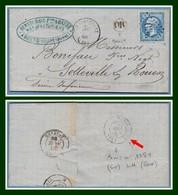 LAC GC 360 / 22 Type 15 Bazancourt 1866 + OR Boult  Verso T15 Paris LH (R) Hennecrave Frères & Barre - Marcofilia (sobres)