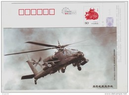 Black Hawk Armed Helicopter,China 2009 Xiangtan New Year Greeting Advertising Pre-stamped Card - Helicopters