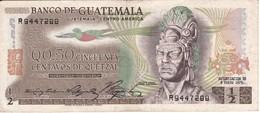 BILLETE DE GUATEMALA DE 1/2 QUETZAL DEL  3 ENERO 1975 CALIDAD EBC (XF) (BANK NOTE) - Guatemala