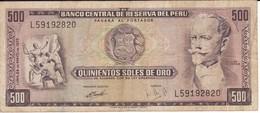 BILLETE DE PERU DE 500 SOLES DE ORO DEL AÑO 1973 (BANKNOTE) - Peru