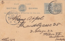 BRITISH GUIANA 1902 - 1 C Ganzsache + 1 C Zusatzfr.auf Postkarte Gel1902 Von B.Guiana > Wien - Britisch-Guayana (...-1966)