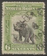 Niorth Borneo - 1909 Rhinocerous 6c Used    SG 168 - North Borneo (...-1963)