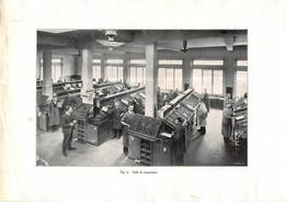 Imprimerie Du XXème Siècle - Salle De Composition - Gravure D'époque - Tirée à Neuchâtel ? Suisse ( 19 X 27 Cm) - Máquinas