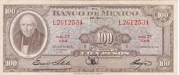 BILLETE DE MEXICO DE 100 PESOS DEL AÑO 1961  (BANKNOTE) (RARO) - México
