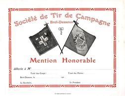 Société De Tir De Campagne Brot-Dessous - Mention Honorable - Neuchâtel - Suisse  ( Carton 23 X 17 Cm) - Vierge - Diploma & School Reports