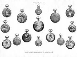 Montres Autotypie D'après Nature Montbaron, Gautschi & C, - Neuchâtel - Suisse  ( Papier ~ 25 X 18 Cm) - Planches & Plans Techniques
