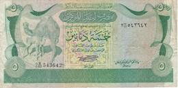 BILLETE DE LIBIA DE 5 DINARS DEL AÑO 1980 (BANKNOTE) CAMELLO-CAMEL - Libye