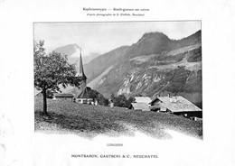 Lungern - Obwald - Simili-gravure En Cuivre Montbaron, Gautschi & C, - Neuchâtel - Suisse  ( Papier ~ 25 X 18 Cm) - Technical Plans