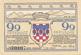 99 Pfennige Gutschein Aus BAD HONNEF 1921, Sehr Gute Erhaltung - Deutschland