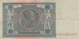 10 REICHSMARK Banknote 1924/1929, Gute Erhaltung, Gefaltet - 10 Mark